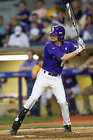 LSU Tigers outfielder Mark Laird #9 at bat during the Southeastern Conference baseball game against the Georgia Bulldogs on March 22, 2014 at Alex Box Stadium in Baton Rouge, La. The Tigers defeated the Bulldogs 2-1. (Andrew Woolley/Four Seam Images)