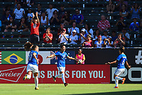 Carson, CA - Thursday August 03, 2017: Camila, Tamires during a 2017 Tournament of Nations match between the women's national teams of Australia (AUS) and Brazil (BRA) at the StubHub Center.