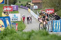 Wout van Aert (BEL/Jumbo-Visma) stalling up the final Paterberg climb<br /> <br /> 105th Ronde van Vlaanderen 2021 (MEN1.UWT)<br /> <br /> 1 day race from Antwerp to Oudenaarde (BEL/264km) <br /> <br /> ©kramon