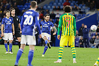 Lee Tomlin of Cardiff City scores a goal with a free kick during the Sky Bet Championship match between Cardiff City and West Bromwich Albion at the Cardiff City Stadium, Cardiff, Wales, UK. Tuesday 28 January 2020