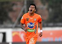 ENVIGADO - COLOMBIA, 31–03-2021: Yeison Guzman de Envigado F. C. celebra el gol anotado a Patriotas Boyaca F. C. durante partido entre Envigado F. C. y Patriotas Boyaca F. C. de la fecha 16 por la Liga BetPlay DIMAYOR I 2021, en el estadio Polideportivo Sur de la ciudad de Envigado. / Yeison Guzman of Envigado F. C. celebrates a scored goal to Patriotas Boyaca F. C. during a match between Envigado F. C. and Patriotas Boyaca F. C. of the 16th date for the BetPlay DIMAYOR I 2021 League at the Polideportivo Sur stadium in Envigado city. Photo: VizzorImage / Luis Benavides / Cont.