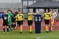 referee Viki De Cremer (M) with assistant referee Ella De Vries (L) and Caroline Lanssens (R) pictured entering the pitch during a female soccer game between SV Zulte - Waregem and White Star Woluwe on the 9th matchday of the 2020 - 2021 season of Belgian Scooore Women s SuperLeague , saturday 12 th of December 2020  in Waregem , Belgium . PHOTO SPORTPIX.BE | SPP | DIRK VUYLSTEKE