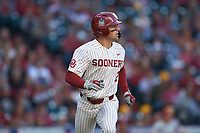 Trent Brown (2) of the Oklahoma Sooners hustles down the first base line against the Arkansas Razorbacks in game two of the 2020 Shriners Hospitals for Children College Classic at Minute Maid Park on February 28, 2020 in Houston, Texas. The Sooners defeated the Razorbacks 6-3. (Brian Westerholt/Four Seam Images)