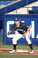 Tony Conyers (14) of the University of San Diego Toreros in the field at first base during a game against the Cal State Fullerton Titans at Goodwin Field on April 5, 2016 in Fullerton, California. Cal State Fullerton defeated University of San Diego, 4-2. (Larry Goren/Four Seam Images)