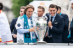 Real Madrid Luka Modric and Mateo Kovacic during the celebration of the Thirteen Champions League at Cibeles Fountain in Madrid, Spain. May 27, 2018. (ALTERPHOTOS/Borja B.Hojas)