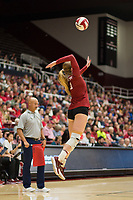 STANFORD, CA - NOVEMBER 17: Stanford, CA - November 17, 2019: Jenna Gray at Maples Pavilion. #4 Stanford Cardinal defeated UCLA in straight sets in a match honoring neurodiversity. during a game between UCLA and Stanford Volleyball W at Maples Pavilion on November 17, 2019 in Stanford, California.