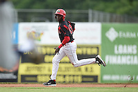 Batavia Muckdogs outfielder Galvi Moscat (27) running the bases during a game against the Mahoning Valley Scrappers on June 22, 2015 at Dwyer Stadium in Batavia, New York.  Mahoning Valley defeated Batavia 15-11.  (Mike Janes/Four Seam Images)