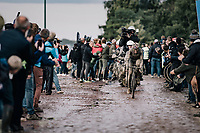 Gianni Moscon (ITA/INEOS Grenadiers) exiting the Carrefour de l'Arbre<br /> <br /> 118th Paris-Roubaix 2021 (1.UWT)<br /> One day race from Compiègne to Roubaix (FRA) (257.7km)<br /> <br /> ©kramon