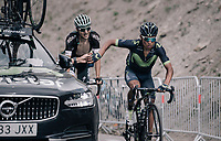Nairo Quintana (COL/Movistar) getting a 'sticky bottle' up the highest point in the 2017 TdF: The Galibier (HC/2642m/17.7km/6.9%)<br /> <br /> 104th Tour de France 2017<br /> Stage 17 - La Mure › Serre-Chevalier (183km)