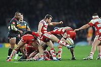 Greig Laidlaw of Gloucester Rugby clears his line during the Aviva Premiership Rugby match between Harlequins and Gloucester Rugby at Twickenham Stadium on Tuesday 27th December 2016 (Photo by Rob Munro/Stewart Communications)
