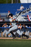 West Virginia Black Bears center fielder Jared Oliva (43) at bat during a game against the Batavia Muckdogs on June 25, 2017 at Dwyer Stadium in Batavia, New York.  Batavia defeated West Virginia 4-1 in nine innings of a scheduled seven inning game.  (Mike Janes/Four Seam Images)