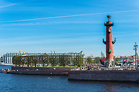 Rostral Column On Vasilievksy Island and Winter Palace behind, St. Petersburg
