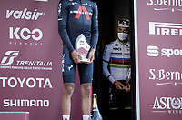 World Champion Julian Alaphilippe (FRA/Deceuninck - QuickStep) waiting to mount the podium as teh runner-up in this 15th Strade Bianche 2021<br /> <br /> ME (1.UWT)<br /> 1 day race from Siena to Siena (ITA/184km)<br /> <br /> ©kramon