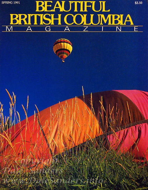 """BEAUTIFUL BRITISH COLUMBIA  Magazine Cover Story  """"Hot Air Highs"""" - Ballooning in BC's Fraser Valley, written and photographed by Dale Sanders.  2000 Word Article and Photos."""
