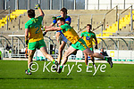 David Clifford, Kerry in action against Paddy McGrath, Donegal and Eamonn Doherty, Donegal during the Allianz Football League Division 1 Round 7 match between Kerry and Donegal at Austin Stack Park in Tralee on Saturday.