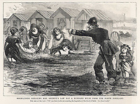 Ladies bathing at Margate are reproved by the local constabulary for unseemly behaviour / The Day's Doings 9 September 1871 Volume 3 page 104 / 1871