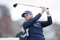 3rd October 2021; The Old Course, St Andrews Links, Fife, Scotland; European Tour, Alfred Dunhill Links Championship, Fourth round; Ewen Ferguson of Scotland tees off on the fourth hole during the final round of the Alfred Dunhill Links Championship on the Old Course, St Andrews