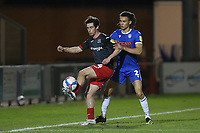 Joel Randall of Exeter City and Miles Welch-Hayes of Colchester United during Colchester United vs Exeter City, Sky Bet EFL League 2 Football at the JobServe Community Stadium on 23rd February 2021
