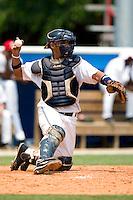 Burlington Indians catcher Enrique Vasquez (1) on defense versus the Princeton Devil Rays at Burlington Athletic Park in Burlington, NC, Wednesday, July 19, 2006.