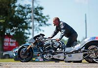 Aug 18, 2019; Brainerd, MN, USA; NHRA top fuel nitro Harley Davidson motorcycle rider Tyler Wilson during the Lucas Oil Nationals at Brainerd International Raceway. Mandatory Credit: Mark J. Rebilas-USA TODAY Sports