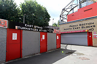 General view of the turnstiles for the East Stand outside Charlton Athletic. All quiet ahead of kick-off as another match is played behind closed doors during Charlton Athletic vs Reading, Sky Bet EFL Championship Football at The Valley on 11th July 2020