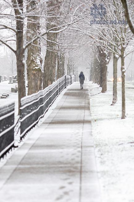 November 24, 2020; First snow of 2020-21 winter season (Photo by Matt Cashore/University of Notre Dame)