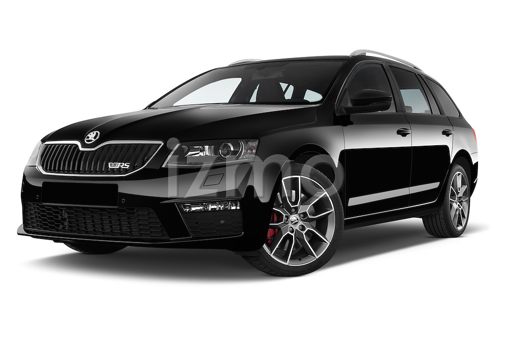 Stock pictures of low aggressive front three quarter view of a 2014 Skoda Octavia 2.0 CRTDI 135kw DSG6 RS 5 Door Wagon 2WD Low Aggressive
