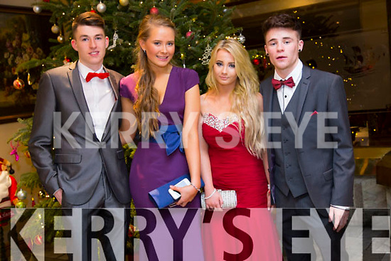 Cathal O'Callathan, Orlaith Rohan, Megan Flannery, Brandon Hoare enjoying the Castlegregory Secondary School Debs at the Brandon Hotel on Saturday