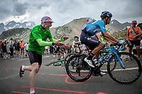 Andrey Amador (CRI/Movistar) cheered by a fan up the Col du Galibier (HC/2622m/23km@5.1%)<br /> <br /> Stage 18: Embrun to Valloire (208km)<br /> 106th Tour de France 2019 (2.UWT)<br /> <br /> ©kramon