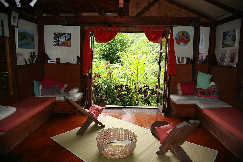 """The """"tv"""" room at Cocoa Cottages, Trafalgar, Dominica (no tv, just view of the rainforest)"""