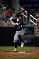 Vermont Lake Monsters Marty Bechina (10) at bat during a NY-Penn League game against the Aberdeen IronBirds on August 19, 2019 at Leidos Field at Ripken Stadium in Aberdeen, Maryland.  Aberdeen defeated Vermont 6-2.  (Mike Janes/Four Seam Images)