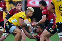Alex Fidow bumps off Codie Taylor during the Super Rugby Aotearoa match between the Hurricanes and Crusaders at Sky Stadium in Wellington, New Zealand on Sunday, 11 April 2020. Photo: Dave Lintott / lintottphoto.co.nz