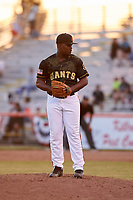 San Jose Giants relief pitcher Raffi Vizcaino (38) during a California League game against the Visalia Rawhide on April 13, 2019 at San Jose Municipal Stadium in San Jose, California. Visalia defeated San Jose 4-2. (Zachary Lucy/Four Seam Images)