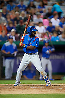 South Bend Cubs second baseman Delvin Zinn (20) at bat during a game against the Kane County Cougars on July 21, 2018 at Northwestern Medicine Field in Geneva, Illinois.  South Bend defeated Kane County 4-2.  (Mike Janes/Four Seam Images)