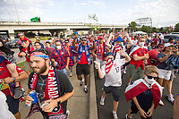 NASHVILLE, TN - SEPTEMBER 5: American Outlaws fans march before a game between Canada and USMNT at Nissan Stadium on September 5, 2021 in Nashville, Tennessee.