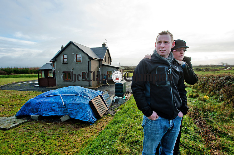 John and Maeve O Brien of Shragh Doonbeg who are concerned about the proposed building of forty-five wind turbines behind and to the side of their new house. Photograph by John Kelly.