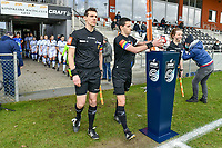 assistant referee Glenn Lakiere , referee Bert Verbeke , assistant referee Joline Delcroix pictured before a female soccer game between  AA Gent Ladies and Club Brugge YLA on the 16th matchday of the 2020 - 2021 season of Belgian Scooore Womens Super League , saturday 13 th of March 2020  in Oostakker , Belgium . PHOTO SPORTPIX.BE | SPP | STIJN AUDOOREN