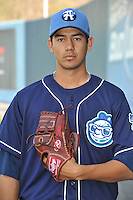 Ricardo Ferrer #24 of the Asheville Tourists poses during media day at McCormick Field on April 4, 2011 in Asheville, North Carolina.  Photo by Tony Farlow / Four Seam Images..