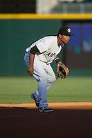 Charlotte Knights shortstop Cleuluis Rondon (8) on defense against the Rochester Red Wings at BB&T BallPark on August 8, 2015 in Charlotte, North Carolina.  The Red Wings defeated the Knights 3-0.  (Brian Westerholt/Four Seam Images)