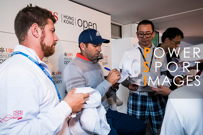 Sergio Garcia of Spain speaks to the fans at the UBS Pavillion during the day three of UBS Hong Kong Open 2017 at the Hong Kong Golf Club on 25 November 2017, in Hong Kong, Hong Kong. Photo by Yu Chun Christopher Wong / Power Sport Images