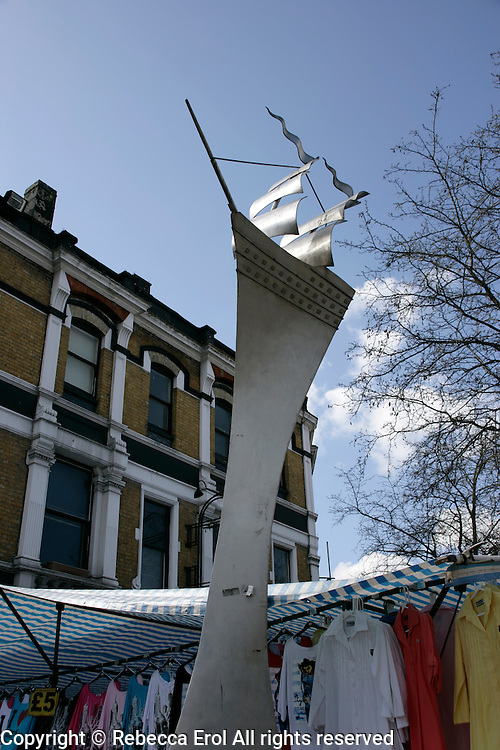 Contemporary ship sculpture at Woolwich Market, southeast London, UK