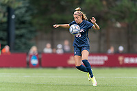 NEWTON, MA - AUGUST 29: Duda Santin #99 of University of Connecticut controls the ball during a game between University of Connecticut and Boston College at Newton Campus Soccer Field on August 29, 2021 in Newton, Massachusetts.
