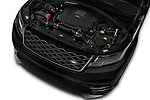 Car stock 2018 Land Rover Range Rover Velar R-Dynamic SE 4WD 5 Door SUV engine high angle detail view