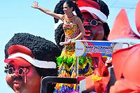 BARRANQUILLA - COLOMBIA, 22-02-2020: Maria Diazgranados, reina del Carnaval 2014 durante el desfile Batalla de Flores del Carnaval de Barranquilla 2019, patrimonio inmaterial de la humanidad, que se lleva a cabo entre el 22 y el 25 de febrero de 2020 en la ciudad de Barranquilla. / Maria Diazgranados, queen of carnival 2020 during the Batalla de las Flores as part of the Barranquilla Carnival 2020, intangible heritage of mankind, that be held between March 22 to 25, 2020, at Barranquilla city. Photo: VizzorImage / Alfonso Cervantes / Cont.