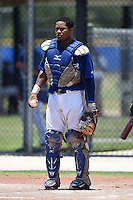 GCL Blue Jays first baseman Juan Kelly (41) during a game against the GCL Yankees 2 on July 2, 2014 at the Bobby Mattick Complex in Dunedin, Florida.  GCL Yankees 2 defeated GCL Blue Jays 9-6.  (Mike Janes/Four Seam Images)