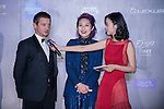 Actor Jeremy Renner and Miriam Yeung walk the Red Carpet event at the World Celebrity Pro-Am 2016 Mission Hills China Golf Tournament on 20 October 2016, in Haikou, China. Photo by Marcio Machado / Power Sport Images