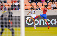 HOUSTON, TX - FEBRUARY 03: Jessica McDonald #14 of the United States sends a cross ball into the box during a game between Costa Rica and USWNT at BBVA Stadium on February 03, 2020 in Houston, Texas.