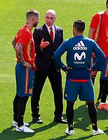 RFEF's President Luis Rubiales (c) with Sergio Ramos (l) and Thiago Alcantara during training session. June 5,2018.(ALTERPHOTOS/Acero) /NortePhoto.com NORTEPHOTOMEXICO