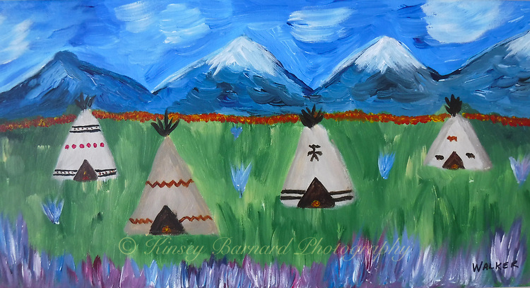 The Blackfeet Reservation is located in Northern Montana on the Rocky Mountain Front. The reservation is, by turns, a most God forsaken place and a place of unimaginable beauty.<br /> <br /> I love to go to the reservation in the spring when the foals are frolicking and wildflowers are blooming. It is the beauty that captures my imagination.<br /> <br /> For those who are officiandos I make no attempt to be historically correct in my paintings. My paintings are purely products my imagination.