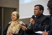 """BMZ-Konferenz """"Religion und die Agenda 2030 fuer nachhaltige Entwicklung"""".<br /> Vlnr: Tawakkol Karman, Friedensnobelpreistraegerin (2011), Jemen; Erzb. Sebastian Francis Shaw OFM, Erzbischof von Lahore, Pakistan.<br /> 17.2.2016, Berlin<br /> Copyright: Christian-Ditsch.de<br /> [Inhaltsveraendernde Manipulation des Fotos nur nach ausdruecklicher Genehmigung des Fotografen. Vereinbarungen ueber Abtretung von Persoenlichkeitsrechten/Model Release der abgebildeten Person/Personen liegen nicht vor. NO MODEL RELEASE! Nur fuer Redaktionelle Zwecke. Don't publish without copyright Christian-Ditsch.de, Veroeffentlichung nur mit Fotografennennung, sowie gegen Honorar, MwSt. und Beleg. Konto: I N G - D i B a, IBAN DE58500105175400192269, BIC INGDDEFFXXX, Kontakt: post@christian-ditsch.de<br /> Bei der Bearbeitung der Dateiinformationen darf die Urheberkennzeichnung in den EXIF- und  IPTC-Daten nicht entfernt werden, diese sind in digitalen Medien nach §95c UrhG rechtlich geschuetzt. Der Urhebervermerk wird gemaess §13 UrhG verlangt.]"""